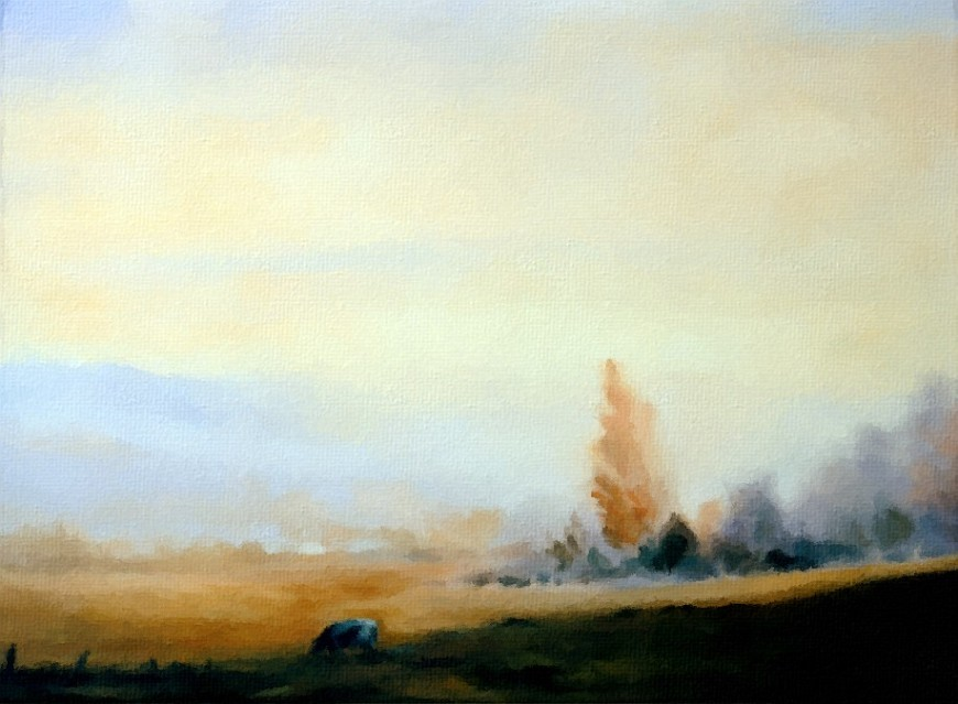 Cow and landscape study, 1990; oil on canvas board
